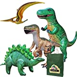 Jet Creations 4-pk Inflatable Dinosaurs Combo, T-rex Pteranodon, Stegosaurus, Raptor. Great for Pool, Party Decoration. Size Range Approx. 37 to 51 inch, Multicolor