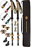 Brown Mountain Trekking Poles for Men Women – 3K Carbon Fiber Walking Sticks – Strong Aluminium Lock - Lightweight Collapsible Adjustable - Comfortable Natural Cork Grips - Walking Poles for Hiking