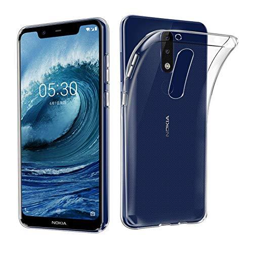 PHONILLICO Coque pour Nokia 5.1 Plus - Housse Etui Gel TPU Silicone Transparent Protection Souple Ultra Mince Fine Slim Leger Anti Choc Résistant