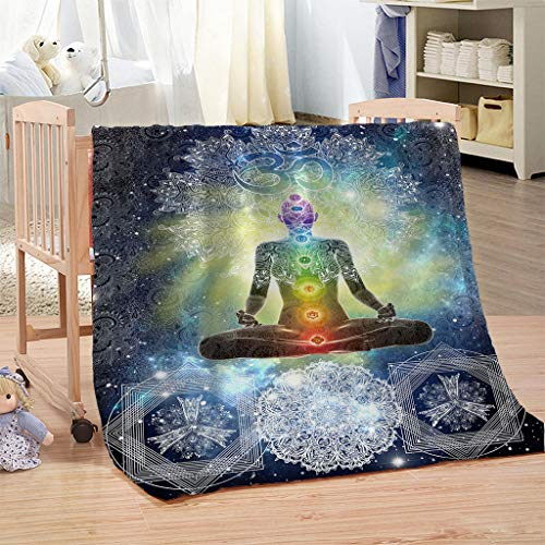 WCHUANG Mandala Design Zen Meditation Hippie Style with Sign Chakra Art Plush Throw Blanket for Adults Turquoise Yellow Bed Couch Throw Blanket Warm Blanket Sofa Throw Blanket, 60' 80'