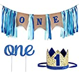 1er Cumpleaños, Decoración De La Corona, Primer Cumpleaños Decoraciones Arpillera Cumpleaños Banner,Suministros Para Fiestas De Cumpleaños (Oro Y Azul Real)