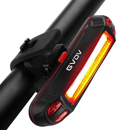 GVDV Luz Trasera Impermeable para Bicicleta y Casco, USB Recargable Potente LED con 6 Luces Modos Ajustables para la Seguridad de Ciclismo