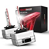 Torchbeam D1S HID Headlight Bulbs, 6000K Cool White, 150% Lighting Distance, Xenon Replacement Bulb, IP67 Design with Metal Stents Base, 5 Years Lifespan, Pack of 2