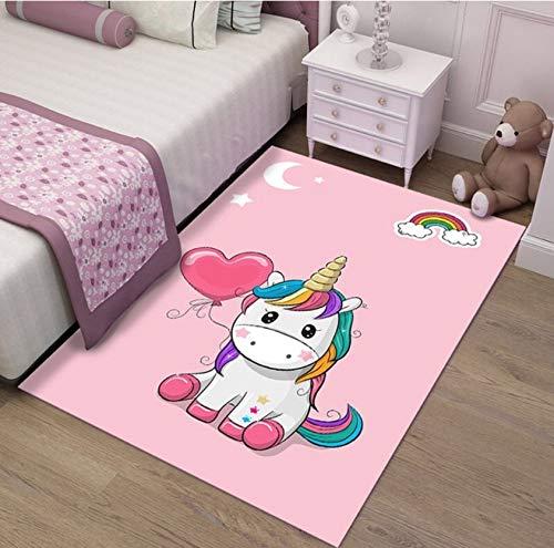 Alfombra Infantil Sala De Estar Antideslizante Linda Niña Unicornio Rosa Decoración Niños Gateando Alfombra del Piso 80cmx150cm