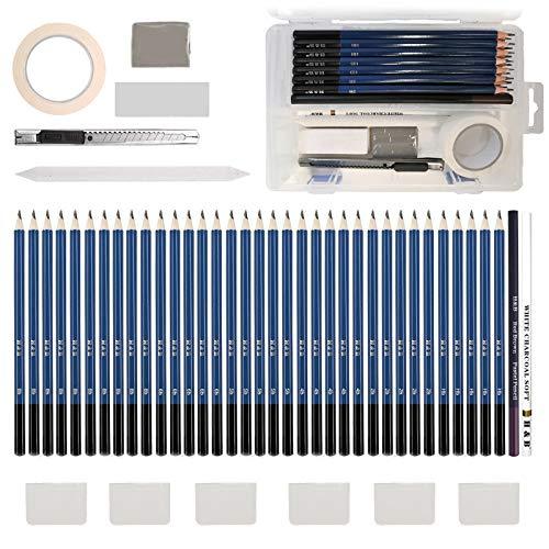 Lypumso - Lápices de dibujo artístico, juego de 42 lápices profesionales de grafito de carbono, lápices de madera, proporcionar a artistas profesionales y principiantes.