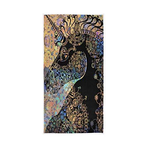 PIXIUXIU - Toallas de mano de secado rápido con estampado tribal de unicornio y flores absorbentes, suaves, gruesas, absorbentes, para uso diario, 76 x 15 pulgadas