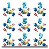 Ysjspd Globo Grande Océano Hoja hincha bebé Shark Boy Fiesta de cumpleaños de los niños Embroma suministra Número Globo de la decoración (Color : Set 18, Shape : Number 0)