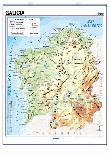 Mapa mural Galicia impreso a doble cara Físico / Político envarillado, con colgadores y tubo 100 x 140 cm (Cartografía)