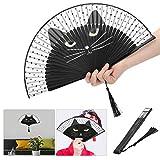Wosune Abanico de Kung Fu de Gato de Dibujos Animados, Abanico Plegable Abanico de Flamenco de 14,8 x 8,3 x 1,2 Pulgadas para un cumpleaños, Halloween, decoración