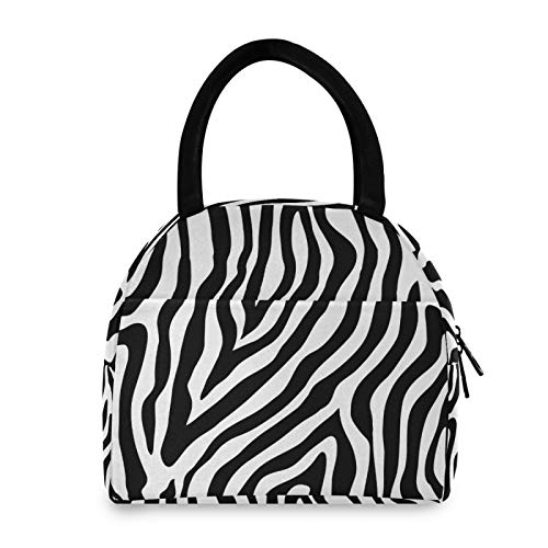 OMBRA Lunch Bag Abstract Animal Zebra Print Insulated Lunch Box Leakproof Zippered Lunch Tote Bag Large Cooler Bag with Front Pocket for WomenMen Work School Girl Boy
