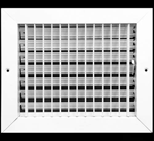10'w X 6'h Adjustable AIR Supply Diffuser - HVAC Vent Cover Sidewall or Ceiling - Grille Register - High Airflow - White [Outer Dimensions: 11.75'w X 7.75'h]