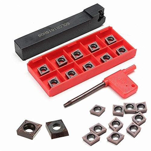 GUOCAO Tools SCLCR1616H09 Soporte de herramientas de torno de torneado con 10 piezas CCMT09T304 VP15TF CCMT32.51 insertos de carburo insertos de fresado y portabrocas