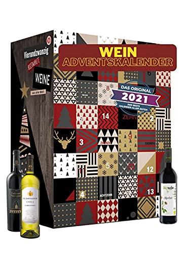 Calendario dell'avvento del vino con 24 straordinari tipi di vino provenienti da tutto il mondo | Regalo per adulti | Bere vino da diversi paesi