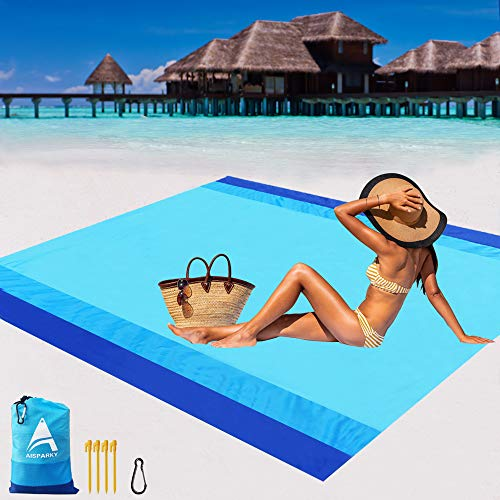 "AISPARKY Beach Blanket, Beach Mat Outdoor Picnic Blanket Compact for 4-7 Persons Water Proof and Quick Drying Beach Mat Mady by Premium Nylon Pocket Picnic Sheet for Outdoor Travel (78"" X 81"")"