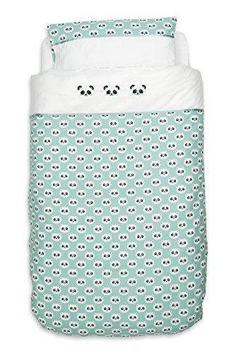 Panda Bettwäsche Bettdeckenbezug 100x135 cm und Kopfkissenbezug 40x60 cm, jade