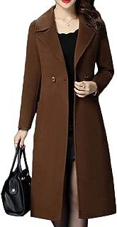 Macondoo Women Double Breasted Winter Woolen Overcoat Slim Fit Long Jacket Coat