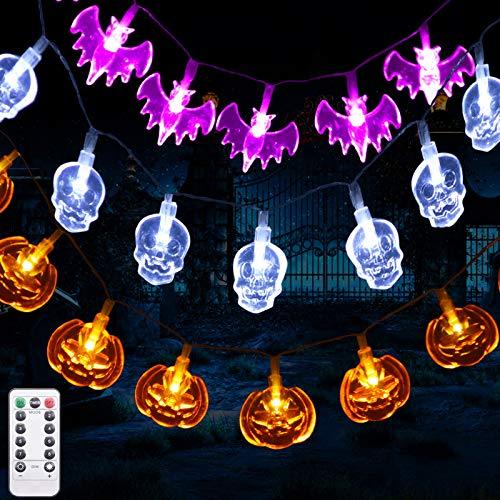 Luces de Cadena de Decoración de Halloween, 3.5M 30 LEDS 8 Modos Calabazas Naranjas, Murciélagos Púrpuras, Calaveras Blancas, Halloween de Decoracion Interior y Exterior para Vacaciones, Fiesta