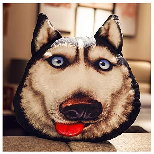 SYLTL 3D Dog Head Simulation Pet Hugging Pillow Soft Lumbar Back Cushion for Home Decor Cuddly Plush Doll Valentines Birthday Gift,B,70 * 60 cm