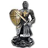 Figura Guerrero Medieval 15CM Resina DECORACIÓN Vintage Especial COLECCIONISTAS,Escudo,Espada,Casco,Cuz,Medieval,Figura,Dorado,Oro,Plata,POLIRESINA,Resina,Estatua