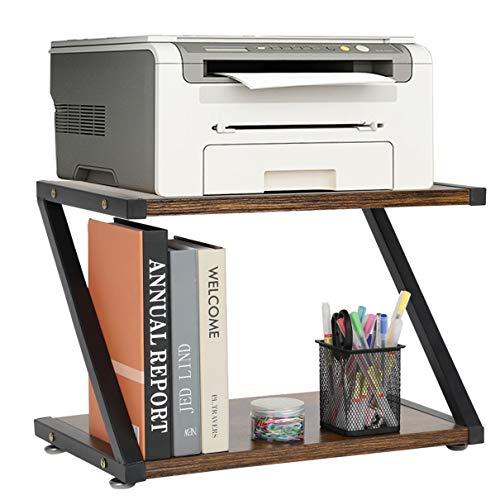 Soporte de impresora madera para dispositivos fax, libros, escáner, fotocopiadora, estantería, soporte impresora, organizador escritorio 2 niveles, oficina y hogar, con almohadillas antideslizantes
