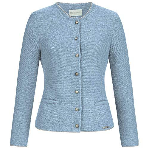 GIESSWEIN Strickjacke Nenita - feine Damen-Jacke aus 100% Wolle, gestrickte Trachtenjacke, Dirndl-Jacke, Weste mit Ärmel, Rundhals-Ausschnitt