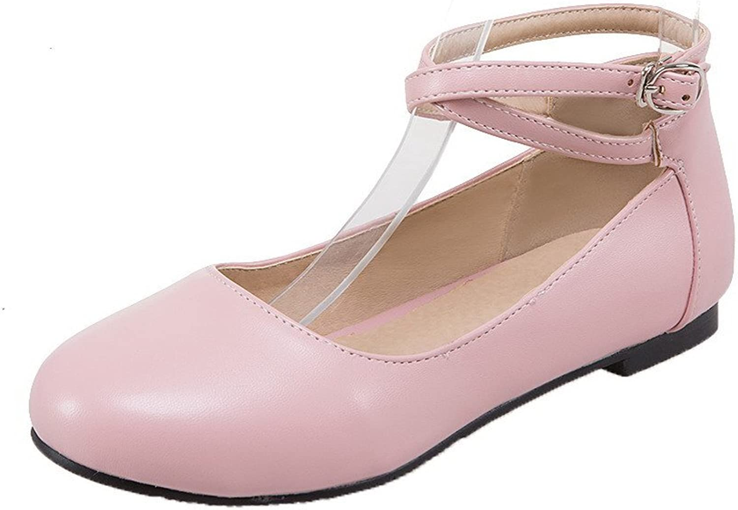 WeiPoot Women's Solid PU No-Heel Buckle Round Closed Toe Pumps-shoes