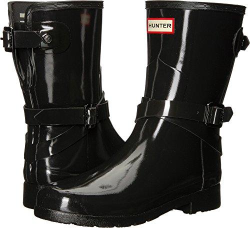 Hunter Refined Back Adjustable Short w/Ankle Strap Gloss Black Women's Crew Cut Socks Shoes