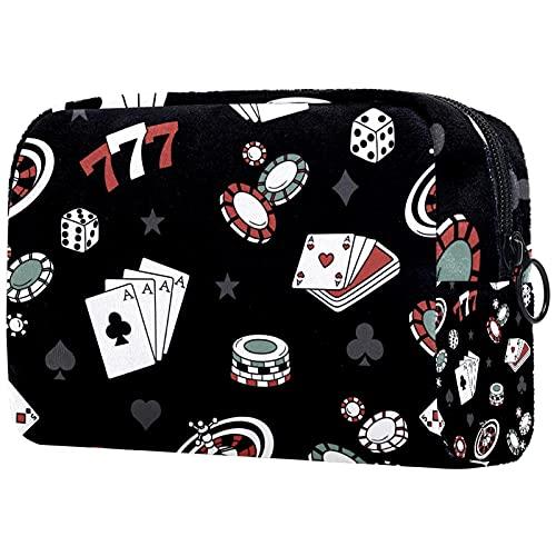 Borsa da Toilette per Donna Fiches per poker Borsa Cosmetica Portatile Borsa per il Lavaggio Make up Bag Per Viaggio a Casa Scuola 18.5x7.5x13cm