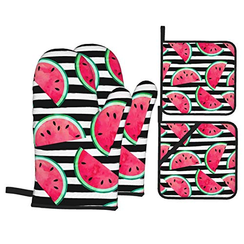 TAHALO Watermelon Cute Oven Mitts and Pot Holders Set of 4Kitchen Oven Gloves Counter Safe MatsHeat Resistant Microwave Gloves for Cooking Baking Grilling BBQ Decorative Kitchen