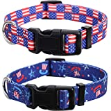 Lamphyface 2 Pack American Flag Dog Collar Adjustable 4th of July Independence Day Medium