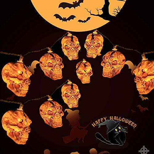 Difini Halloween String Lights, Battery Operated Skull String Lights for Halloween, Indoor, Outdoor, Garden, Party, Home Decorations, 9.84 feet 20 LED Halloween Decor Lights