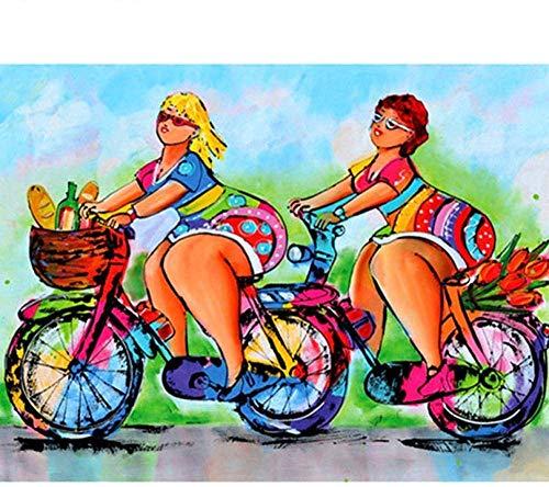 5D DIY Diamante Pintura Taladro Completo Diamante de imitación Cristal Punto de Cruz Artesanía para la decoración de la Pared del hogar Dibujos Animados Chica Bonita Montando Bicicleta 40 x 50 cm