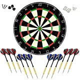 LinkVisions Dartboard with Staple-Free Bullseye, 18g Steel Tip Darts Set,Dartboard Mounting Kits Included