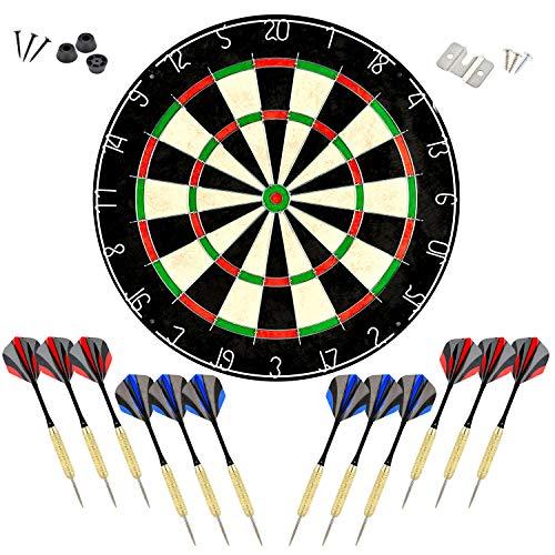 LinkVisions Sisal/Bristle Dartboard with Staple-Free Bullseye and 12 Steeltip Darts Plus Strong Aluminium Shaft, 17.8' 1.5', Moundting Kits Included