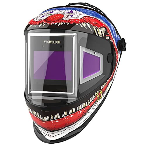 YESWELDER Panoramic 180 View Auto Darkening Welding Helmet with Side View, True Color Highest Optical 1/1/1/1, 4 Arc Sensor Wide Shade 4/5-9/9-13 with Grinding for TIG MIG MMA Plasma EH-302C-CN