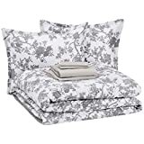 AmazonBasics 8-Piece Comforter Bedding Set, Full / Queen, Grey Chinoiserie, Microfiber, Ultra-Soft