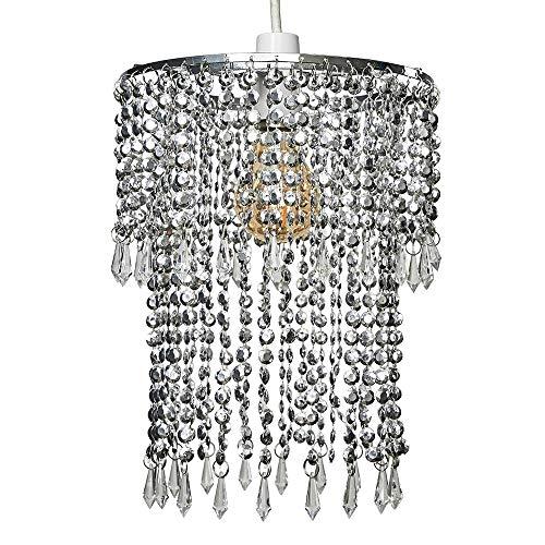 MiniSun Leuchtenschirm für Deckenleuchte, elegant, modern, glitzernde Acrylperlen, Chrom-Effekt