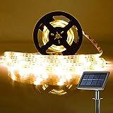 Tira LED Solar, Tiras de Luces 5M Impermeable IP65 Luces LED con 2 Modos Strip Light para Navidad Fiestas Bodas Jardines Festivales Habitacion, Bar, Restaurante Decorativas- Blanco Cálido (amarillo)