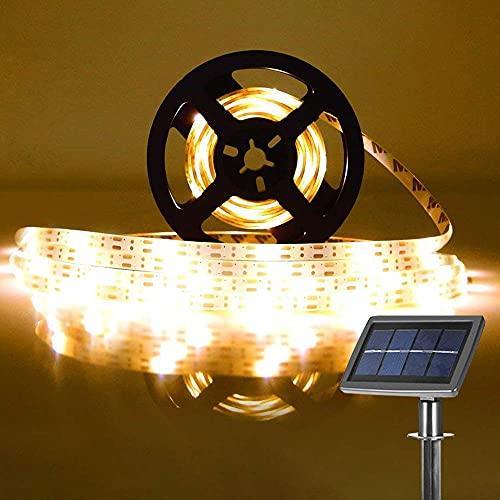 Striscia LED Solare 5M Luci Solari Esterno con 2 Modalità Illuminazione IP65 Impermeabile, 100LED Bianca Calda Strisce LED per Interno e Esterno Decorazione Festa, Giardino, Cucina
