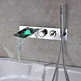 Kitchen taps Bathroom taps Mixer tap tap taps Basin Bathtub Faucet-Modern Chrome Wall-Mounted Ceramic Valve Bathtub Shower Faucet/LED/with Hand Shower/Waterfall/zinc Alloy/Stainless Steel