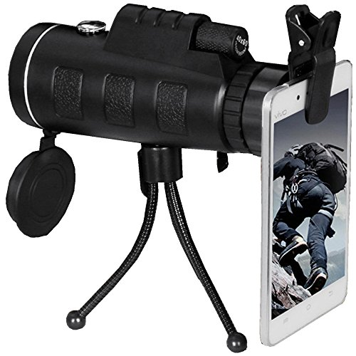 TMTBR 40x60 Dual Focus Monocular Telescope With Tripod ,Compass and phone interface for Low Light Night Vision for outdoor birding, travelling, sightseeing, hunting, etc