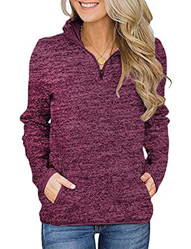 Damen Langarmshirt Sweatshirt Reißverschluss Pullover Casual Oversize Lose Shirt Oberteil mit Taschen Tops Weinrot L