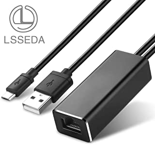 Fire TV Ethernet Adapter, LSSEDA USB to RJ45 Ethernet Adapter with USB Power Supply Cable for Fire TV Stick (2nd GEN), All-New Fire TV (2017), Chromecast Ultra/2/1/Audio, Google Home Mini (3.3Ft)