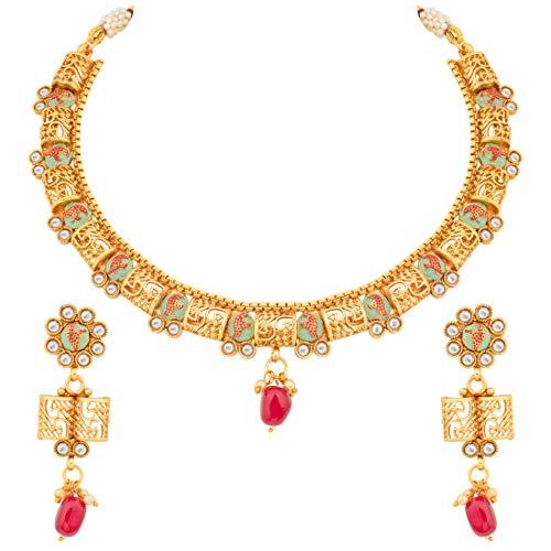 Aheli Kundan Beautiful Flower Design Cut Out Wedding Necklace Earrings Set Traditional Festive Indian Jewelry for Women (Mint)