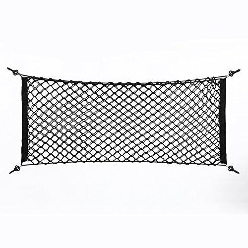 Delaman Kofferraumnetz Universal Elastisch Nylon Kofferraumnetz Lagerung doppelt Gepäcknetz Trennnetz 105 x 55 cm mit 4 Haken, Schwarz