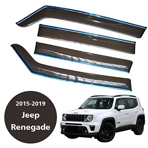 CStern Acrylglas Premium Qualität Windabweiser Auto Regenabweiser Regenschutz Rauchgrau 4-teilig für Jeep Renegade 2015-2019 Seitenscheiben vorn und hinten