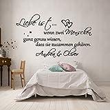 Wandschnörkel® WANDTATTOO *0308 Liebe ist.Schlafzimmer mit,Namen personalisiert Schlafzimmer...