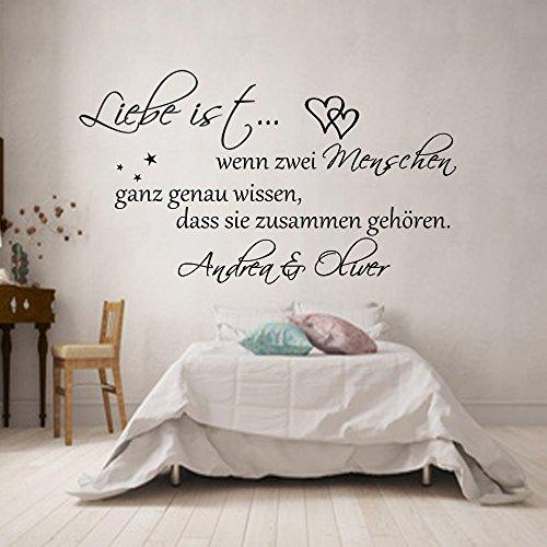 Wandschnörkel® WANDTATTOO *0308 Liebe ist.Schlafzimmer mit,Namen personalisiert Schlafzimmer (1,20m x 0.51m, Schwarz)