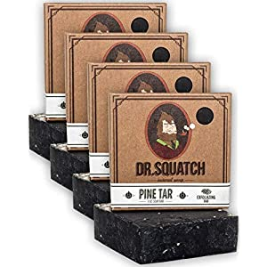 Dr. Squatch Pine Tar Soap 4-Pack Bundle – Mens Bar with Natural Woodsy Scent and Skin Exfoliating Scrub – Handmade with… 5