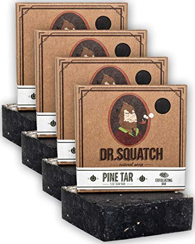 Dr. Squatch Pine Tar Soap 4-Pack Bundle – Mens Bar with Natural Woodsy Scent and Skin Exfoliating Scrub – Handmade with Pine, Coconut, Olive Organic Oils in USA (4 Bar Set)